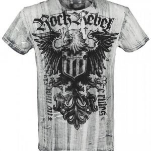 Rock Rebel By Emp Black Washed Eagle Shirt T-paita