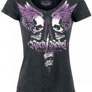Rock Rebel By Emp Brandish Skulls V Neck Naisten T-paita