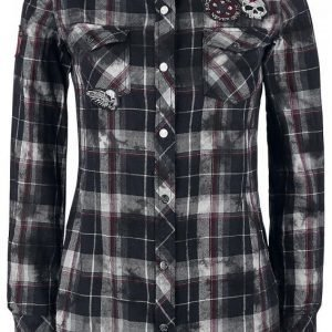 Rock Rebel By Emp Checked Application Girl Shirt Naisten Pusero