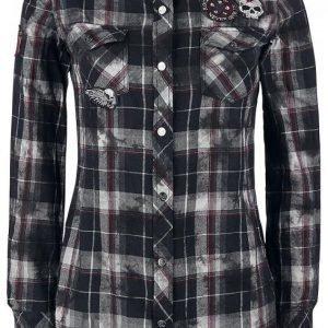 Rock Rebel By Emp Checked Application Girl Shirt Naisten Pusero