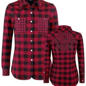 Rock Rebel By Emp Checkered Skull Application Shirt Naisten Pusero