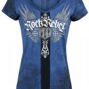 Rock Rebel By Emp Cross Tribal V Neck Naisten T-paita