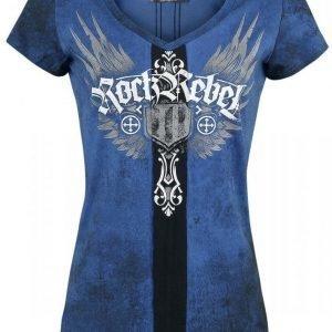 Rock Rebel By Emp Cross Tribal V Neck Naisten T-paita