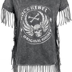Rock Rebel By Emp Fringed Original Sinners Naisten T-paita