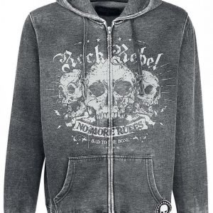 Rock Rebel By Emp Hooded Burnout Jacket Vetoketjuhuppari