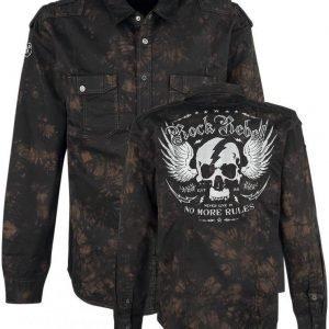 Rock Rebel By Emp Lightning Skull Shirt Kauluspaita