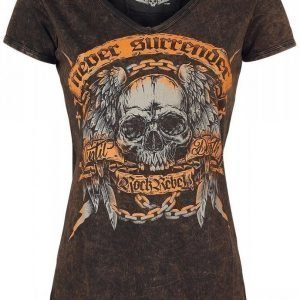 Rock Rebel By Emp Never Surrender Crincle V Neck Naisten T-paita