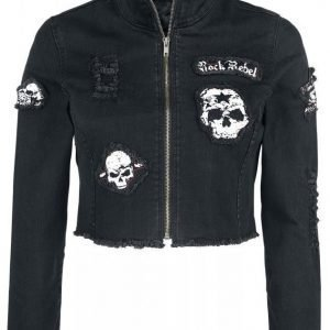 Rock Rebel By Emp Short Skull Denim Jacket Naisten Farkkutakki