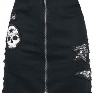 Rock Rebel By Emp Skull Denim Skirt Lyhyt Hame