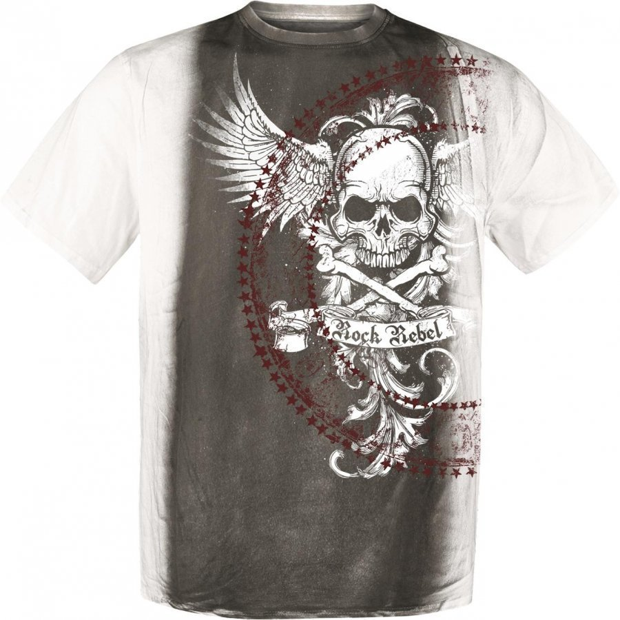 Rock Rebel By Emp Wings Skulls Shirt T-paita