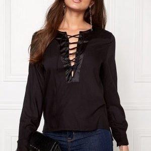Rut & Circle Elin Lace-Up Blouse 001 Black