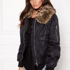 Rut & Circle Kate Fur Collar Jacket 001 Black