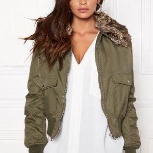 Rut & Circle Kate Fur Collar Jacket Vintage Olive