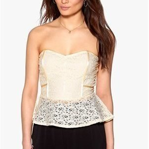 Rut & Circle Lacy Peplum Top 003 Creme