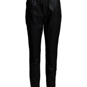 Saint Tropez Pu Pants With Rib & Zippers leveälahkeiset housut