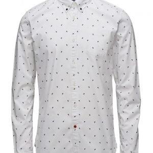 Scotch & Soda Ams Blauw Allover Print Slim Fit Shirt