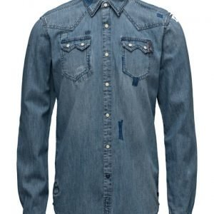 Scotch & Soda Ams Blauw Denim Sawtooth Shirt