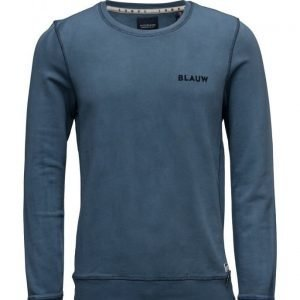 Scotch & Soda Ams Blauw Garment Dyed Sweat With Chest Embroidery svetari