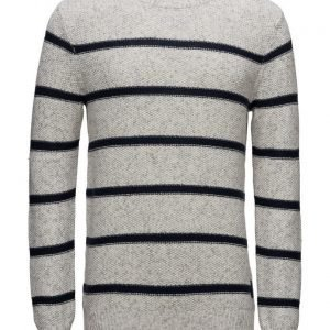 Scotch & Soda Crewneck Pullover In Structured Stripe Pattern pyöreäaukkoinen neule