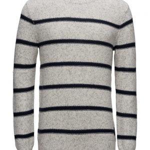 Scotch & Soda Crewneck Pullover In Structured Stripe Pattern pyöreäaukkoinen neule