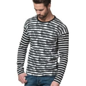 Scotch & Soda Drop Shoulder Tee Dessin B Black / White