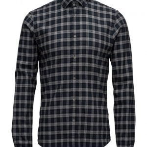 Scotch & Soda Long Sleeve Classic Shirt In Crispy Cotton Quality