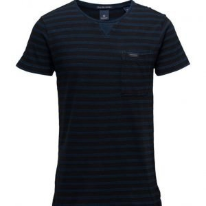 Scotch & Soda Shirtsleeve Tee In Structured Indigo Quality lyhythihainen t-paita