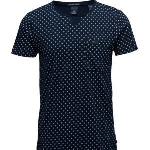 Scotch & Soda Shirtsleeve Tee In Structured Indigo Quality lyhythihainen t-paita