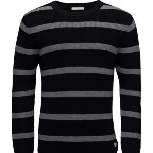 Scotch & Soda Striped Crewneck Pull With Contrast Cuff pyöreäaukkoinen neule