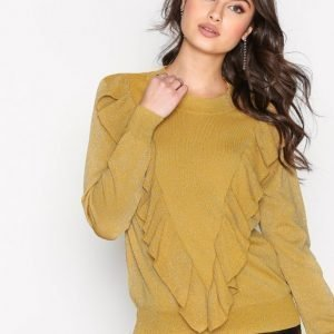 Selected Femme Sfagnes Ls Knit O-Neck Rt Neulepusero Mörk Gul