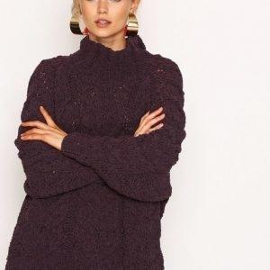 Selected Femme Sfblair Ls Highneck Knit Neulepusero Tummanvioletti