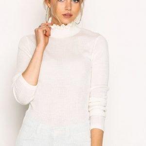 Selected Femme Sfcosta Ls Knit Rib Frill Highneck Neulepusero Valkoinen