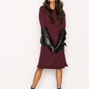 Selected Femme Sfeileen Ls Knit O-Neck Dress Loose Fit Mekko Tummanvioletti