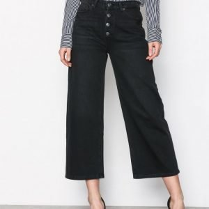 Selected Femme Sfgene Hw Cropped Wide Jeans Black Housut Musta