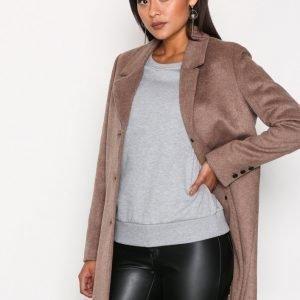 Selected Femme Sfsasja Wool Coat Camp H Pitkä Takki Ruskea