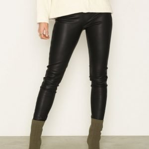 Selected Femme Sfsylvia Mw Stretch Leather Legging Housut Musta