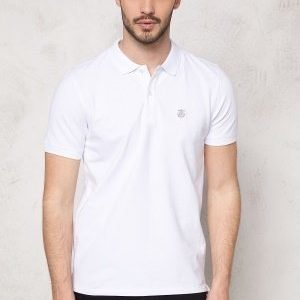 Selected Homme Aro SS Embroidery Polo Bright White