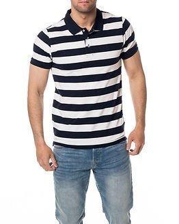 Selected Homme Aro Stripe Polo Navy Blazer
