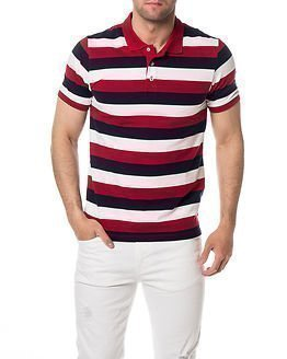 Selected Homme Aro Stripe Polo Navy/Red