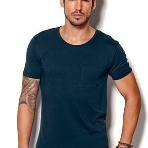 Selected Homme Pima Dave ss Deep O-neck Insignia Blue