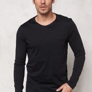 Selected Homme Pima Florence ls O-Neck Black