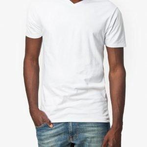 Selected Homme Pima Ss V-Neck Noos T-paita Valkoinen