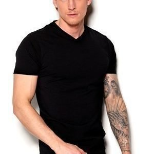 Selected Homme Pima ss V-neck Musta