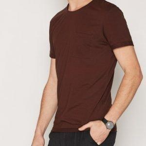 Selected Homme Shdholden Ss O-Neck Tee T-paita Tummanruskea