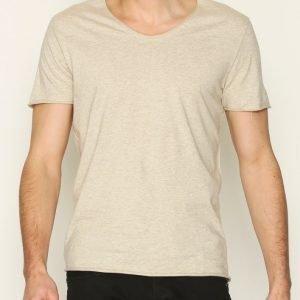 Selected Homme Shdmerce Melange Ss O-Neck Tee Noos T-paita Beige