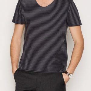 Selected Homme Shdmerce Stripe Ss O-Neck Tee T-paita Sininen