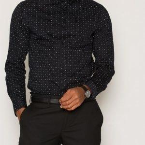 Selected Homme Shdone-Newtoncamp Shirt Ls Kauluspaita Musta