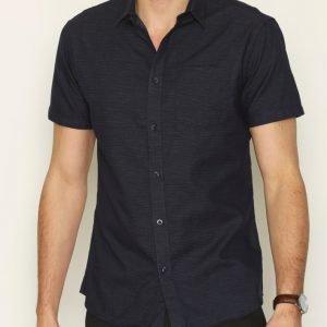 Selected Homme Shdoneclive Shirt Ss Kauluspaita Tummansininen