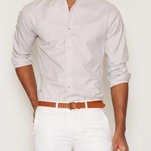 Selected Homme Shdonefort Shirt Ls Kauluspaita Vaaleanharmaa