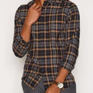 Selected Homme Shdonepaw Shirt Ls Kauluspaita Tummanharmaa